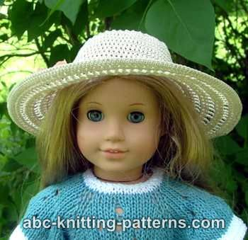 American Girl Doll Summer Breeze Hat by ABC Knitting Patterns