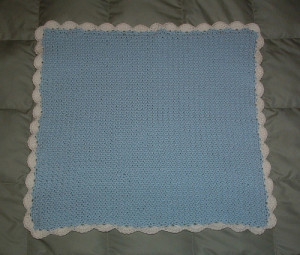 Moss Stitch Baby Blanket ~ My Recycled Bags