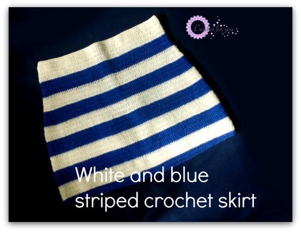 White and Blue Striped Crochet Skirt by Erangi Udeshika of Crochet For You