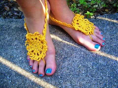 Mehndi Barefoot Sandals ~ Crochet Parfait