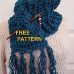 Chunky Crochet Teal Scarf with Fringe ~ Craft Bits