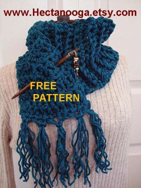 Chunky Crochet Teal Scarf with Fringe ~ Hectanooga - Craft Bits