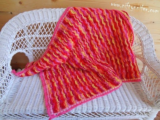 Chains In Line Baby Blanket by Jennifer Gregory of Niftynnifer's Crochet & Crafts