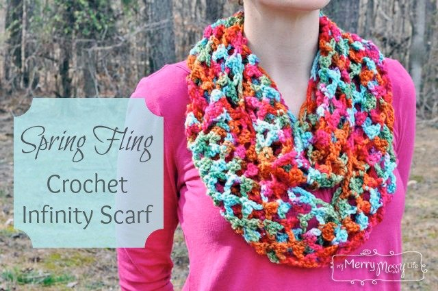 Spring Fling Picot Trellis Scarf by My Merry Messy Life