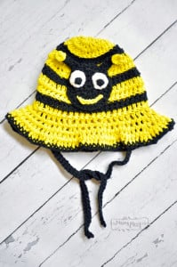 Crochet Bumblebee Sun Hat - All Sizes by My Merry Messy Life