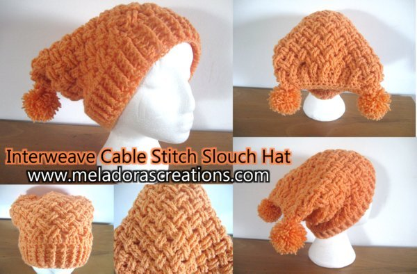 Interweave Cable Stitch Slouch Hat by Meladora's Creations