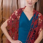 Krysia Flower and Diamond Wrap by Ellen K. Gormley for Red Heart