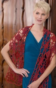 Krysia Flower and Diamond Wrap by Ellen K. Gormley for Red Heart