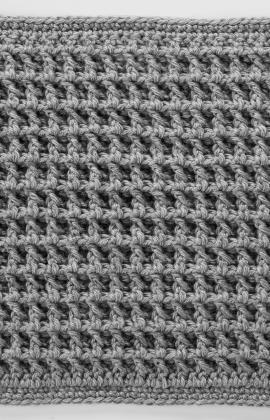 Front Post Double Crochet Square for Checkerboard Textures Throw by Katherine Eng for Red Heart