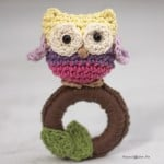 Crochet Owl Ring Baby Toy ~ Repeat Crafter Me