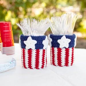 Patriotic Mason Jar Utensil Holder by Petals to Picots
