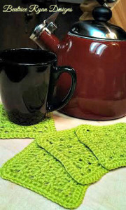 Amazing Grace Summer Crochet Coaster Set ~ Beatrice Ryan Designs