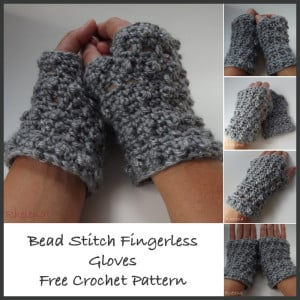 Bead Stitch Fingerless Gloves ~ CrochetN'Crafts