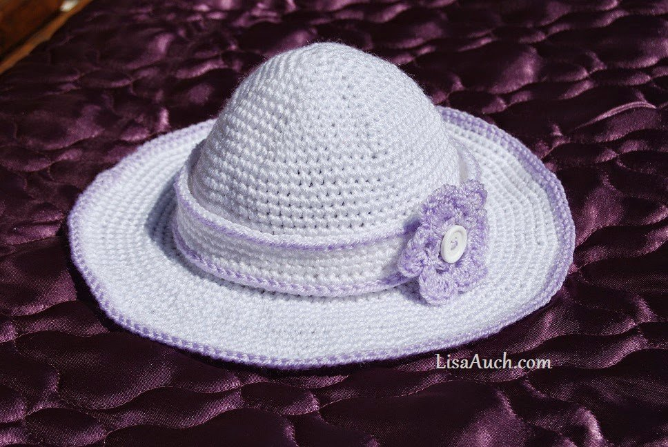 Childs Sunhat with Detachable Flower Headband by Lisa Auch of Free Crochet Patterns and Designs