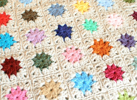 Joining Crochet Squares ... Cluster Burst Afghan by Petals to Picots