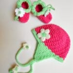 Blooming Strawberry Baby Earflap Hat 0-3 mo – My Hobby is Crochet