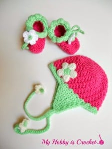 Blooming Strawberry Baby Earflap Hat 0-3 mo - My Hobby is Crochet