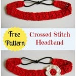 Crossed Stitch Headband with Flower Applique ~ My Hobby is Crochet