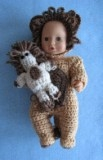 12-inch Baby Doll Lion Costume, Hood & Toy Lion by Donna's Crochet Designs