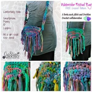 Chiffon Ribbon Purse the Watercolor Festival Bag by Cre8tion Crochet
