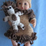 12-inch Baby Doll Lion Dress, Hat, Shoes & Toy Lion ~ Donna's Crochet Designs