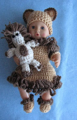 12-inch Baby Doll Lion Dress, Hat, Shoes & Toy Lion by Donna's Crochet Designs