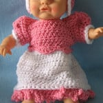 12-Inch Baby Doll Dress, Bonnet & Shoes Set by Donna's Crochet Designs