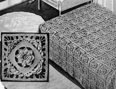 Rose of Killarney Bedspread by Free Vintage Crochet