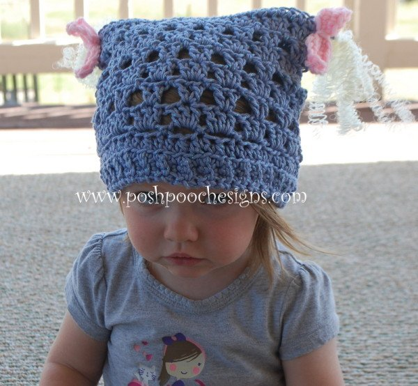 Piggy tail Children's Chemo Hat by Sara Sach from Posh Pooch Designs