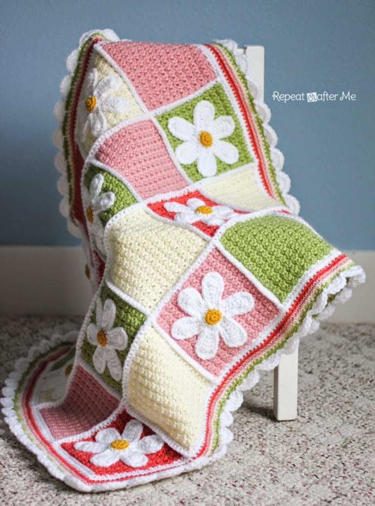 Crochet Daisy Afghan by Repeat Crafter Me