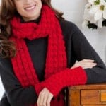 Lacy Bobble Scarf and Wristlets ~ Kim Guzman - Red Heart