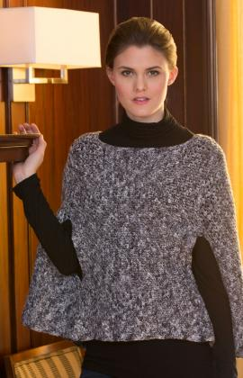 Sparkling Poncho with Arm Slits by Jenny King for Red Heart
