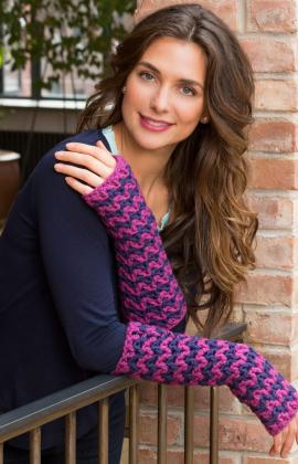 Wavy Long Wristers by Lorna Miser for Red Heart/Yarnspirations