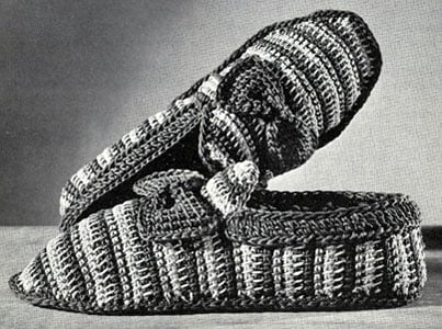 Striped Slippers by Free Vintage Crochet