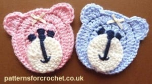 Teddy Bear Face Applique by Patterns For Crochet