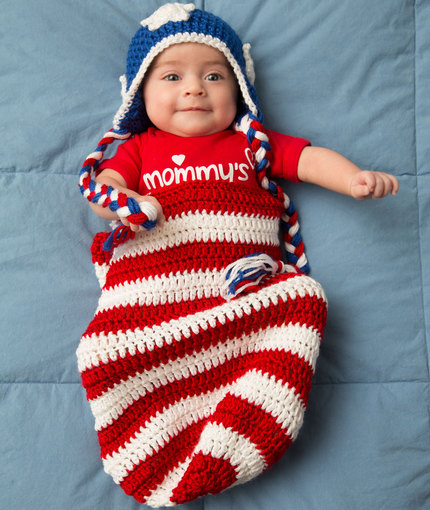 Patriotic Baby Cocoon & Hat by Salena Baca for Red Heart