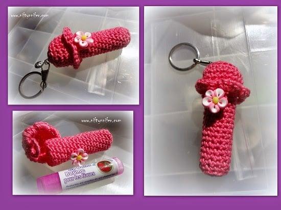 Lip Balm Chap Stick Holder Pendant by Jennifer Gregory of Niftynnifer's Crochet & Crafts