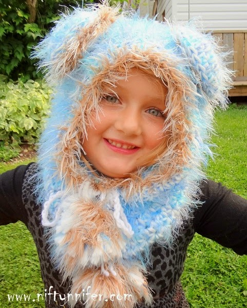 Beautiful Blue Bear Hood by Jennifer Gregory of Niftynnifer's Crochet & Crafts