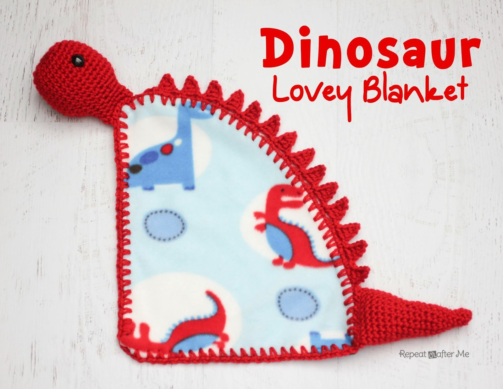 Dinosaur Lovey Blanket by Repeat Crafter Me