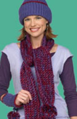 Crochet Scarf, Hat and Wristlets by Michele Thompson for Red Heart at Yarnspirations