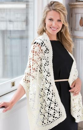 Crochet Lacy Wrap by Red Heart at Yarnspirations