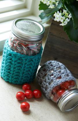 Crochet Jar Cozies ~ Brenda Bourg - Red Heart