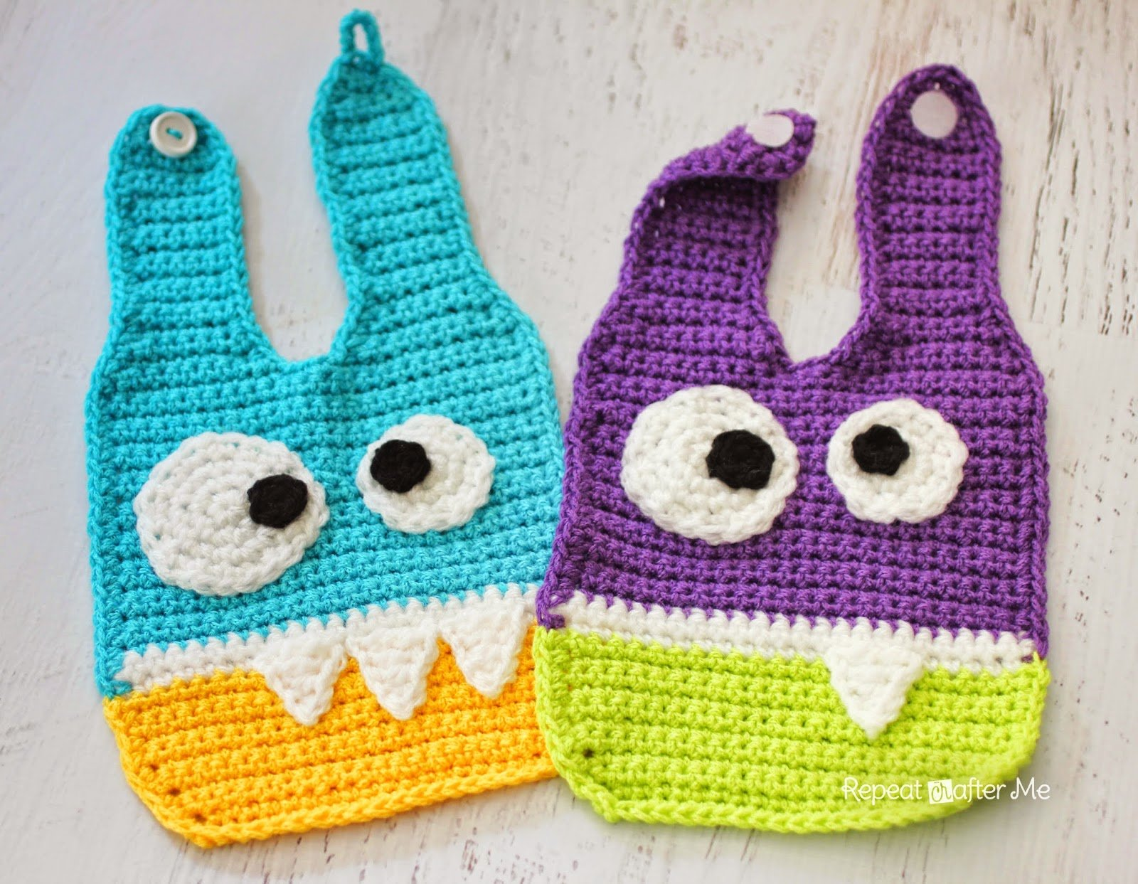 Crochet Monster Baby Bibs by Repeat Crafter Me