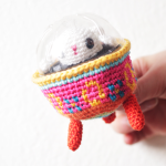Easter Bunny in Colored Egg Spaceship Amigurumi ~ The Sun and the Turtle