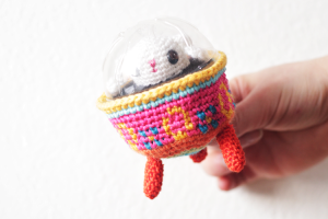Easter Bunny in Colored Egg Spaceship Amigurumi by The Sun and the Turtle