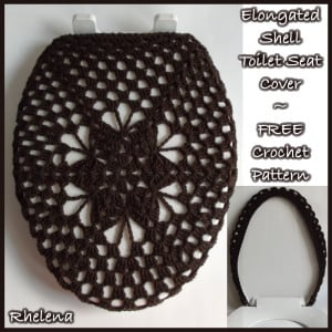 Elongated Shell Toilet Seat Cover by Rhelena of CrochetN'Crafts