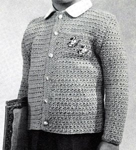 Star Stitch Cardigan Pattern   Size: 2 to 3 Years by Free Vintage Crochet