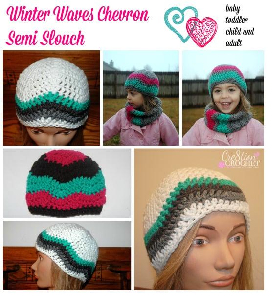 Winter Waves Chevron Semi Slouch ~ Cre8tion Crochet