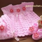Dress, Bonnet & Shoes by Just Crochet