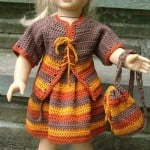 American Girl Doll Back to School Outfit (Cardigan, Skirt and Backpack) ~ ABC Knitting Patterns